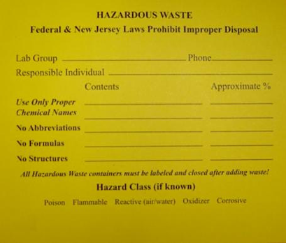 Hazardous Chemical Label