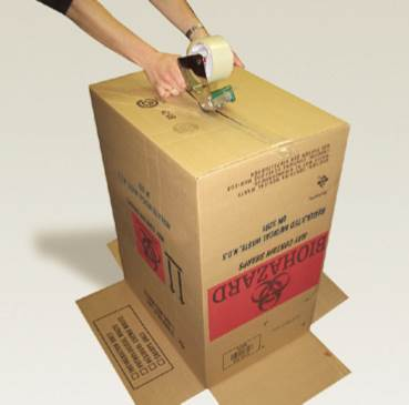 Seal regulated medical waste boxes using tape