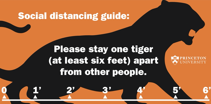 Sign showing six foot tiger reminding to keep 6 feet apart