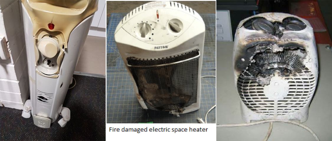 Fire Damaged Space Heaters
