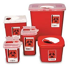 Rigid, impervious sharps containers