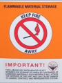 Flammable material refrigerator label