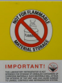 Not for flammable materials storage